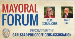 Graphic showing two candidates for Mayor of Carlsbad