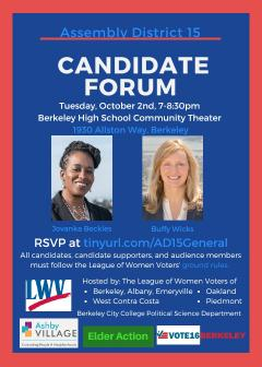 Flier for Assembly District 15 Candidate Forum