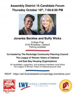 Flier for AD 15 Candidate Forum on 10/18