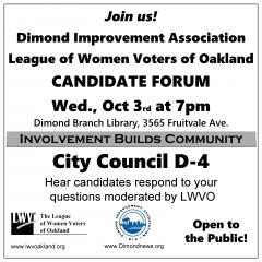 Flier for 10/3 Candidate Forum for City Council District 4