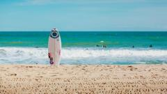 single surfboard standing upright on beach