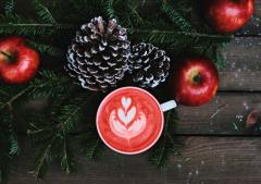 Photo of Hot Cup of Tea, Apples and Pinecones