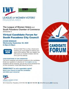 Candidate forum South Pasadena Image
