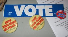 Voting bumper sticker and pins