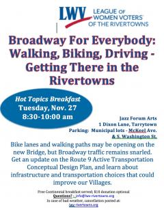 Broadway for Everyone: Walking, Biking, Driving - Getting There in the Rivertowns