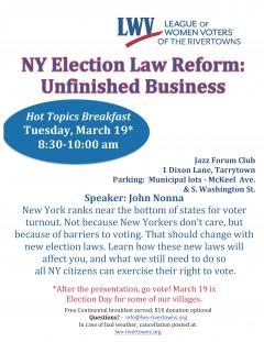 New York Election Law Reform Hot Topics Breakfast