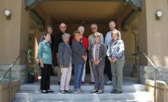 2019-2020 Board members, standing outside on steps