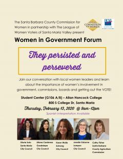 LWV Santa Maria Valley  - Women in Government Forum