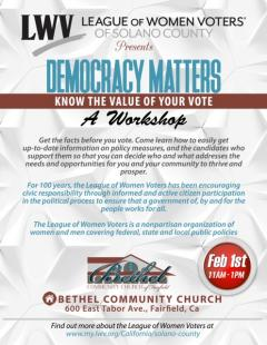 Democracy Matters: Know the Value of Your Vote Workshop