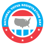 image for National Voter Registration Day, with a pic of the USA