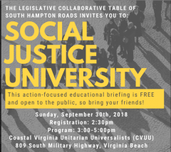 Black and white image of people standing in line with Social Justice University in yellow
