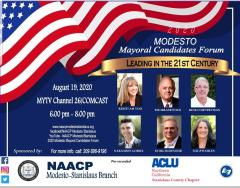 Image: flyer for Modesto Mayoral Forum on August 19, 2020 at 6 pm
