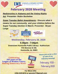 LWV of Tennessee Valley Meeting - Redistricting, Voting Rights Act, and the ballot
