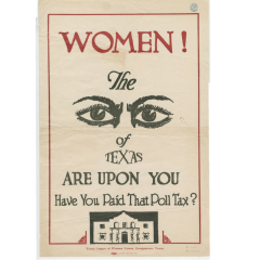 old graphic with words the Women the Eyes of Texas are Upon You
