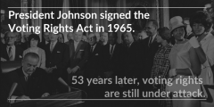 Photo of LBJ signing the voting rights act