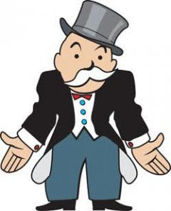 Monopoly man with empty pockets indicating all the money has went to pay taxes