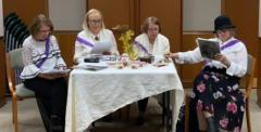 Peggy Stein, Mary Gould, Mary Price and Carol Bergman, who put together a special suffragist re-enactment for our benefit