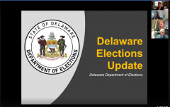 Title slide: Delaware Elections Update (with thumbnail photos of hosts & speaker)