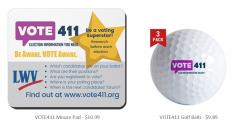 VOTE411 mousepad and golf ball are shown