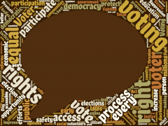 speech bubble image surrounded by word cloud about voting rights
