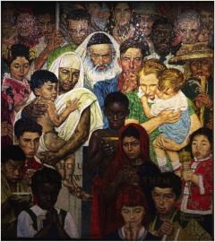 """Golden Rule,"" a mosaic of Murano glass tile, is a representation of the Norman Rockwell painting by the same name.  The mosaic is located on the 3rd floor at UN headquarters in New York City."