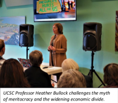 UCSC Professor Heather Bullock speaking with visual images