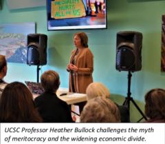 UCSC Professor Heather Bullock speaking with visual images