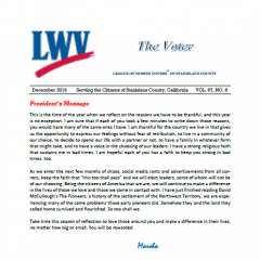 Screen capture of first page of LWV Stanislaus County VOTER newsletter