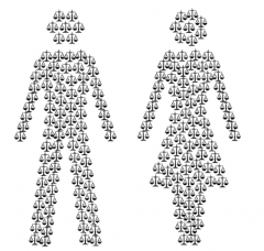 scales of justice create male and female figures