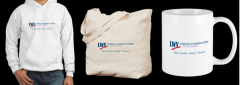 photo of sweatshirt, tote and mug with LWVDE logo
