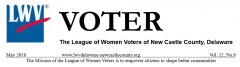 LWVNCC heading for the VOter May 2018 edition