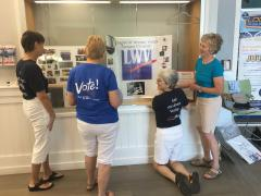 VOTE411, the League of Women Voters' online voters' guide, is featured in the Lewes Library display case.