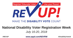 Rev Up National Disability Registration Week graphic