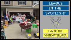 League in the Spotlight: LWV of the Whitewater Area image shows a picture of their garage sale fundraiser