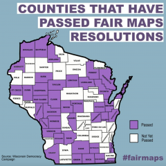 Map of Wisconsin after Winnebago Co becomes 40th County to join fair maps resolution