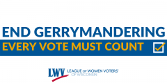 "White graphic with slogan ""End Gerrymandering"" in blue letters on top, and ""Every vote must count"" in yellow letters over a blue rectangle below."