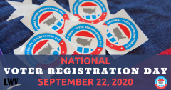"Graphic of National voter registration day, with text: ""National Voter Registration Day, September 22, 2020"""