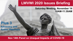 "Graphic of the Lady Forward statue in the background and text in front: ""LWVWI Issues Briefing. Saturday Meeting, November 14, 2020. 10AM-11:30AM. Plus 3 League in Action and Advocacy webinars. Nov 14th Panel on Unequal Impacts of COVID-19."""