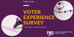"Gold text that read ""Take our voter experience survey of the November 3rd General Election"" over dark purple background. There is an image of voting stickers and an image of a hand taking a survey"
