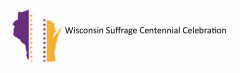 Logo for the Wisconsin Suffrage Centennial Celebration website.