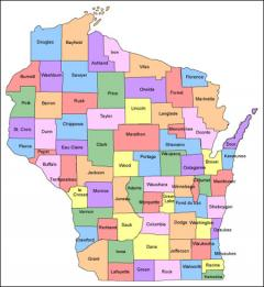 Map of Wisconsin Counties