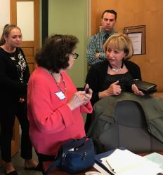 MA Senator Cynthia Creem (at right) meeting with Brookline League member Shaari Mittel
