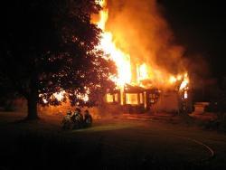 house burning at night