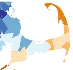 Map of Cape Cod showing 2020 Census response rate by town