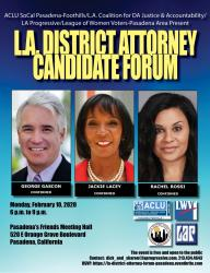 Flyer for LA District Attorney Candidate Forum