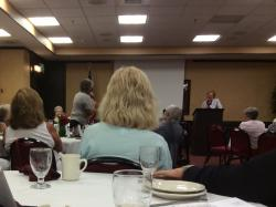 Photo of Denah Hoard taking question from Shirley Grindle