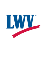 The League of Women Voters logo, LWV with a red swish underneath