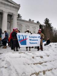 we carry the LWV banner at Vermont women's march 2019