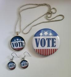 Vote Earrings, Necklace and Pin