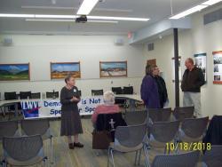 Kate Rader, Director of LWVCV greeting public